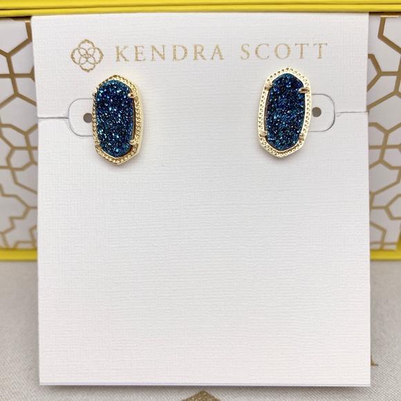 Gold NWT Kendra Scott Ellie Stud Earrings In Dark Blue Drusy